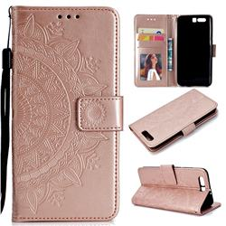 Intricate Embossing Datura Leather Wallet Case for Huawei P10 - Rose Gold