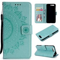 Intricate Embossing Datura Leather Wallet Case for Huawei P10 - Mint Green