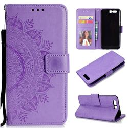 Intricate Embossing Datura Leather Wallet Case for Huawei P10 - Purple