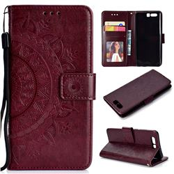 Intricate Embossing Datura Leather Wallet Case for Huawei P10 - Brown