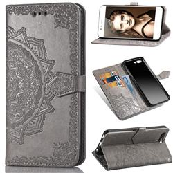 Embossing Imprint Mandala Flower Leather Wallet Case for Huawei P10 - Gray