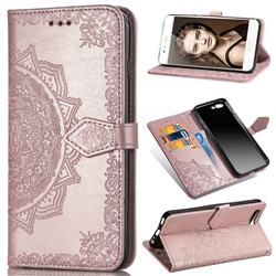 Embossing Imprint Mandala Flower Leather Wallet Case for Huawei P10 - Rose Gold
