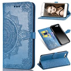 Embossing Imprint Mandala Flower Leather Wallet Case for Huawei P10 - Blue