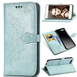Embossing Imprint Mandala Flower Leather Wallet Case for Huawei P10 - Green