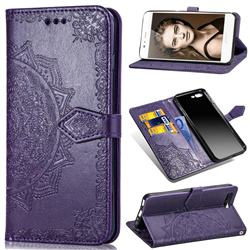 Embossing Imprint Mandala Flower Leather Wallet Case for Huawei P10 - Purple
