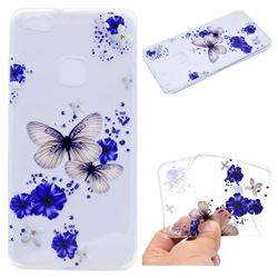 Blue Butterfly Flowers Super Clear Soft TPU Back Cover for Huawei P10 Lite P10Lite
