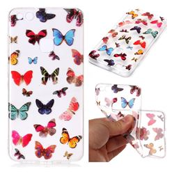 Colorful Butterfly Super Clear Soft TPU Back Cover for Huawei P10 Lite P10Lite