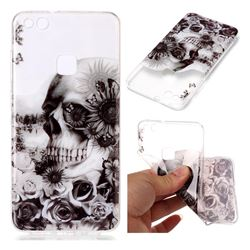 Black Flower Skull Super Clear Soft TPU Back Cover for Huawei P10 Lite P10Lite