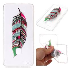 Green Feathers Super Clear Soft TPU Back Cover for Huawei P10 Lite P10Lite