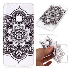 Black Mandala Flower Super Clear Soft TPU Back Cover for Huawei P10 Lite P10Lite