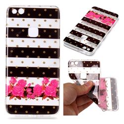 Striped Flowers Super Clear Soft TPU Back Cover for Huawei P10 Lite P10Lite