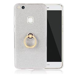 Luxury Soft TPU Glitter Back Ring Cover with 360 Rotate Finger Holder Buckle for Huawei P10 Lite P10Lite - White