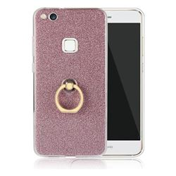Luxury Soft TPU Glitter Back Ring Cover with 360 Rotate Finger Holder Buckle for Huawei P10 Lite P10Lite - Pink