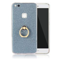 Luxury Soft TPU Glitter Back Ring Cover with 360 Rotate Finger Holder Buckle for Huawei P10 Lite P10Lite - Blue