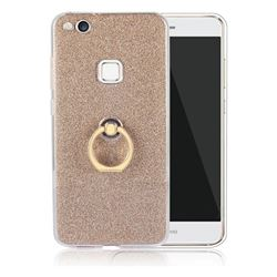 Luxury Soft TPU Glitter Back Ring Cover with 360 Rotate Finger Holder Buckle for Huawei P10 Lite P10Lite - Golden