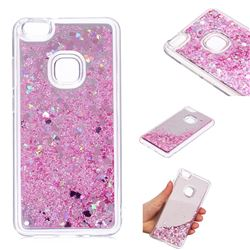 Glitter Sand Mirror Quicksand Dynamic Liquid Star TPU Case for Huawei P10 Lite P10Lite - Cherry Pink