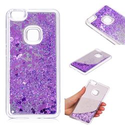 Glitter Sand Mirror Quicksand Dynamic Liquid Star TPU Case for Huawei P10 Lite P10Lite - Purple
