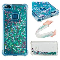 Dynamic Liquid Glitter Sand Quicksand TPU Case for Huawei P10 Lite P10Lite - Green Love Heart