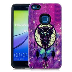 Starry Campanula Owl Pattern 2 in 1 PC + TPU Glossy Embossed Back Cover for Huawei P10 Lite P10Lite