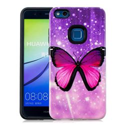 Glossy Butterfly Pattern 2 in 1 PC + TPU Glossy Embossed Back Cover for Huawei P10 Lite P10Lite