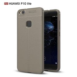 Luxury Auto Focus Litchi Texture Silicone TPU Back Cover for Huawei P10 Lite P10Lite - Gray