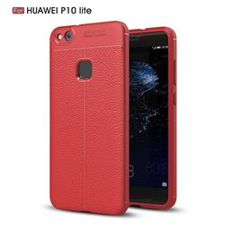 Luxury Auto Focus Litchi Texture Silicone TPU Back Cover for Huawei P10 Lite P10Lite - Red