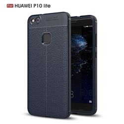 Luxury Auto Focus Litchi Texture Silicone TPU Back Cover for Huawei P10 Lite P10Lite - Dark Blue