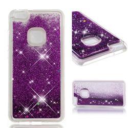 Dynamic Liquid Glitter Quicksand Sequins TPU Phone Case for Huawei P10 Lite P10Lite - Purple