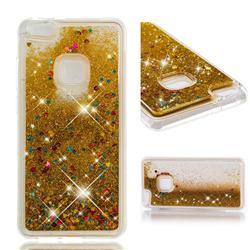 Dynamic Liquid Glitter Quicksand Sequins TPU Phone Case for Huawei P10 Lite P10Lite - Golden