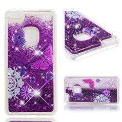Purple Flower Butterfly Dynamic Liquid Glitter Quicksand Soft TPU Case for Huawei P10 Lite P10Lite