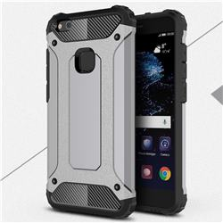 King Kong Armor Premium Shockproof Dual Layer Rugged Hard Cover for Huawei P10 Lite P10Lite - Silver Grey