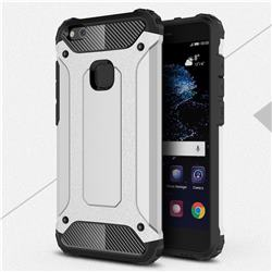 King Kong Armor Premium Shockproof Dual Layer Rugged Hard Cover for Huawei P10 Lite P10Lite - Technology Silver