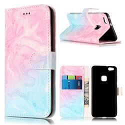 Pink Green Marble PU Leather Wallet Case for Huawei P10 Lite P10lite
