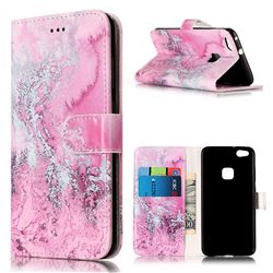 Pink Seawater PU Leather Wallet Case for Huawei P10 Lite P10lite