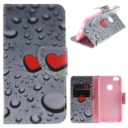 Heart Raindrop PU Leather Wallet Case for Huawei P10 Lite P10Lite