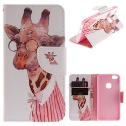 Pink Giraffe PU Leather Wallet Case for Huawei P10 Lite P10Lite