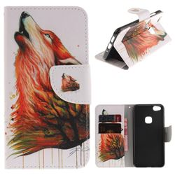 Color Wolf PU Leather Wallet Case for Huawei P10 Lite P10Lite