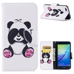 Lovely Panda Leather Wallet Case for Huawei P10 Lite P10Lite