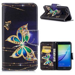 Golden Shining Butterfly Leather Wallet Case for Huawei P10 Lite P10Lite