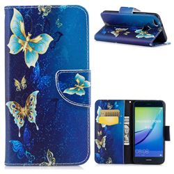 Yellow Flower Butterfly Leather Wallet Case for Huawei P10 Lite P10Lite