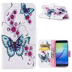 Peach Butterflies Leather Wallet Case for Huawei P10 Lite P10Lite