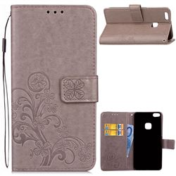 Embossing Imprint Four-Leaf Clover Leather Wallet Case for Huawei P10 Lite P10Lite - Grey