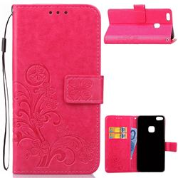Embossing Imprint Four-Leaf Clover Leather Wallet Case for Huawei P10 Lite P10Lite - Rose