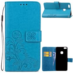 Embossing Imprint Four-Leaf Clover Leather Wallet Case for Huawei P10 Lite P10Lite - Blue