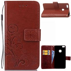 Embossing Imprint Four-Leaf Clover Leather Wallet Case for Huawei P10 Lite P10Lite - Brown