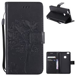 Embossing Butterfly Tree Leather Wallet Case for Huawei P10 Lite P10Lite - Black