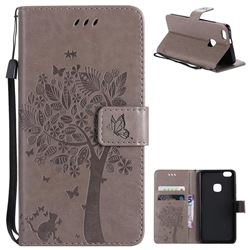 Embossing Butterfly Tree Leather Wallet Case for Huawei P10 Lite P10Lite - Grey