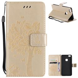 Embossing Butterfly Tree Leather Wallet Case for Huawei P10 Lite P10Lite - Champagne