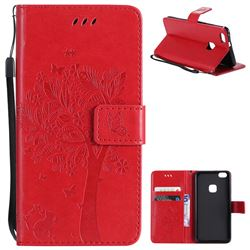 Embossing Butterfly Tree Leather Wallet Case for Huawei P10 Lite P10Lite - Red