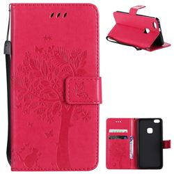 Embossing Butterfly Tree Leather Wallet Case for Huawei P10 Lite P10Lite - Rose
